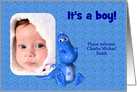 Cute Blue Dragon New Baby Birth Announcement Your Photo Card