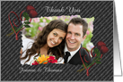 Elegant Heart Red Roses Wedding Thank You Photo Card