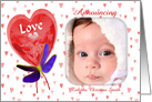 Love Balloon Red Hearts New Baby Birth Announcement Photo Card
