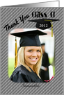 Graduation Cap Class Of Thank You Photo Card