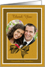 Heart Shaped Frame On Gold Wedding Thank You Photo Card