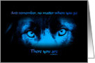 Fantasy Blue Intense Dog Eyes Inspirational Quote Card