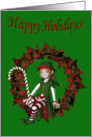 Girl Elf Wreath Christmas Holiday Card