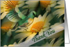 Fantasy Art Bird Yellow Daisies Thank You Card