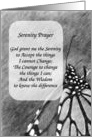 Monarch Butterfly Pencil Art Serenity Prayer Card