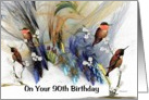 90th Happy Birthday - Fractal with Rufous Hummimgbirds card