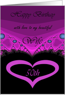50th / Wife Happy Birthday - Sweetheart Purple & Black Heart card