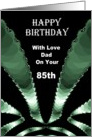 85th - Dad Happy Birthday - Emerald Green Pattern On Black card