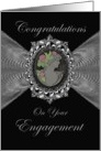 Engagement Congratulations Cameo on a Silver Like Fractal Bow card