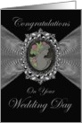 Wedding Day Congratulations / Cameo on a Silver Fractal card