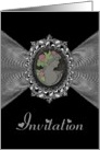 Wedding Invitation / Cameo on a Silver Fractal card