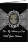 Wedding Invitation / General / Cameo on a Silver Fractal card