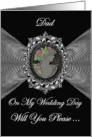 Dad - Wedding Day Request Invitation / Cameo on a Silver Fractal card