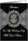 Brother - Wedding Day Request Invitation / Cameo on a Silver Fractal card