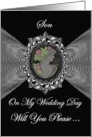 Son - Wedding Day Request Invitation / Cameo on a Silver Fractal card