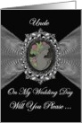 Uncle - Wedding Day Request Invitation / Cameo on a Fractal card