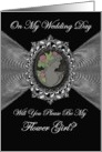 Flower Girl - Wedding Day Invitation / Cameo on a Fractal card