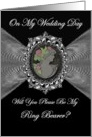 Ring Bearer - Wedding Day Invitation / Cameo on a Fractal card