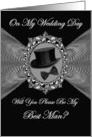 Best Man - Wedding Day Invitation / Top Hat - Bow Tie on a Fractal card