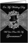 Groomsman - Wedding Day Invitation / Top Hat - Bow Tie on a Fractal card