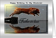 Happy Birthday ~ Father-in-law ~ Dog Leaping Into The Lake card