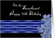 50th Sweetheart / Wife Birthday - Blue / White pattern with blue flowers card