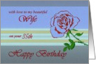 35th - Wife Happy Birthday - Contemporary Red Rose Stem card