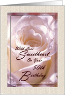 50th Birthday / Wife / Pink Rose card