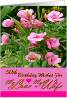 50th / Birthday / Wife / Pink Flowers card