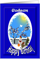 Christmas Birthday Wishes ~ Godson ~ Snowman Winter Scene card