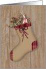 Primitive Stocking Christmas Card
