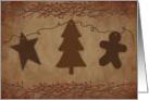 Primitive Ornaments Christmas Card