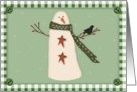 Merry Christmas, Primitive Country Snowman card