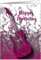 Pink Guitar Birthday Card