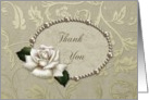 Thank you- Occassion, For the gift, Wedding Gift, Rose, Pearls, Scroll, card