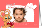 Valentine's Bunny Baby Girl 1st Valentine's Day Custom Text Photo Card