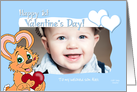 Valentine's Bunny Baby Boy 1st Valentine's Day Custom Text Photo Card