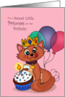 Happy Birthday Little Princess - Royal Kitty Cupcake Celebration card