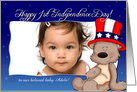 Patriotic Teddy - Baby's 1st Independence Day - for Adele card