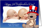 Patriotic Teddy - Baby's 1st Independence Day - for Twins Alex & Adele card