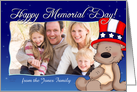Patriotic Teddy Bear - Happy Memorial Day Photo Card