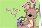 Easter Bunny Teddy Bear - Happy Easter, Zoey - Customizable Text Card
