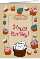Happy Shared Birthday Cupcakes card