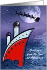Christmas Cruise Ship at night spots Santa in the sky card