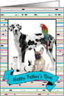 Father's Day - Colorful Stripes and Dots Photo Card with Banner card