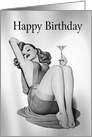 Birthday Sexy Pin Up Girl with Martini card