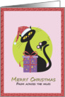 Merry Christmas From Across the Miles - Far away- Santa Kitty - Mouse card
