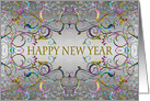 Happy New Year - Colorful swirl pattern card