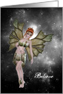 Note Card - Believe - Fairy Redhead in the Night Sky card