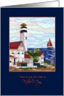 Father's Day - Across the miles - Lighthouse - Boat - Scenery card